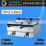 Counter top rectangular 2 tank 2 basket with oil faucet and CE certificate electric deep fryer machine