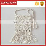 B903 Handmade crochet tassel white single shoulder lady bag bohemia beach retro tassel female bag