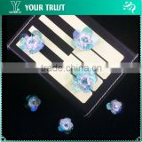 2MM Rhinestone 6.5MMSky Blue Acrylic Stone Beaded Flower Sequin Applique Patches