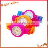 Adult / Kids Sizes Colorful Waterproof Sport hollow silicone rubber sports bangle watch
