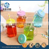 400ml square clear glass drinking bottle with handle and straw