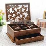 cheap new design solid matte cherry lacquer finish wooden jewelry ring box with velvet inside