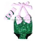 2016 usa wholesale baby clothes with pink bow and matching headband mermaid baby swimsuits