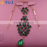 >>>Best Popular Trendy Style Fashion Elegant Green Gem Acrylic Pendant Jewelry Gold Plated Barrette Hair Chain Hairwear /