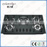 kitchen deluxe black tempered glass panel gas stove