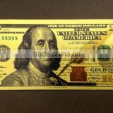 24k gold foil banknote 24k gold 100 dollar banknote with color