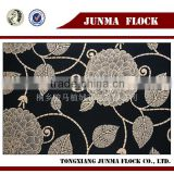 Black and Golden Flower Design China Flocked Moroccan Sofa Fabric Velour Fabric Living Room Sofas