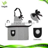 Custom promotion striped pattern cotton cross back bib apron with embroidery logo
