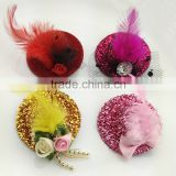 Beautiful Fashion Bow Hair Clip Lace Feather Top Hat Fascinator Burlesque Club Party Hat