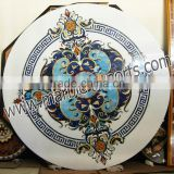 lpais inlaid semi precious stone marble White inlay Dinning Table marble inlaid white table top