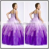 Purple Puffy Strap Design Ball Gown Custom Made Vestidos Flower Little Girl for Wedding Party TF029 wedding dresses little girls