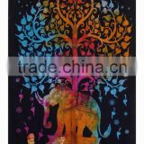 Psychedelic Tree Elephant Tapestry Tie Dye Indian Twin Bed Spread Home Decorative Wall Hanging Beach Throw Blanket China