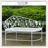 Cream white decorative garden metal bed bench