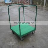 Tool cart with carpeted deck tray dolly pushing wagon