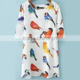 2014 Summer New Fashion Brand White Half Sleeve Birds Print O-Neck A-Line Casual Loose Above Knee Female Mini Dress