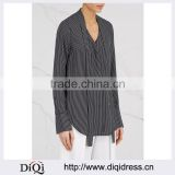 Wholesale Women Apparel Striped Neck-ties Black and White Silk Shirt(DQE0365T)