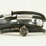 Personalized engraved leather bracelet, wrapped leather bracelet, name/logo stamped multi strand bracelet,buddha charm bracelet