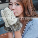 ladies winter woolen fur knitted fingerless wool hand gloves