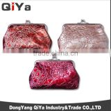 Wholesale Luxury Classical Wrinkle PU Women Clasp Lipstick Coin Purse Metal Purses Frame Wallets