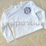 Wholesale girls monogram t-shirt latest fancy tops girls cotton toddler personalized shirt baby tops