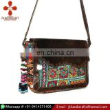 Messenger Banjara Bag Leather Cross Body Bag Tribal Banjara Leather Strap Bag