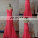 Real Dresses Lace Evening Gown Watermelon Sweetheart Bodice Floor Length Long Coral Evening Dresses Women Free Shipping ZZ25