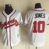 Atlanta Braves #10 Jones Throwback White Jersey