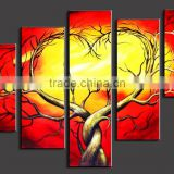 handpainted art supplies 5 panels wall sticker h wall hanging canvas wall art paintings of modern trees Oil Painting on Canvas