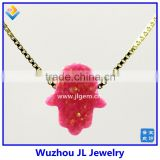 High Quality Synthetic Pink Opal Hamsa/Hand Opal 18K Gold Plated 925 Sterling Silver Box Chain Necklace Made in China