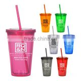 Eco Friendly Double Wall Plastic Tumbler Adult Wine Sippy Cup