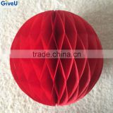 2016 Red Color Paper HoneyComb Ball Paper Boules Wedding Decoration Christmas Birthday Party