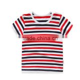 strips cotton children unisex t-shirt short sleeves baby unisex dress OEM service