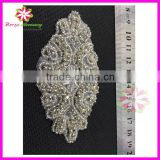 Fashion Embellishment Beaded Applique, wholesale Bridal Rhinestone Appliques Design for Wedding Dresses
