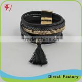Alibaba China hot sale beading bracelet whosale bead landing leather bracelet with different colors                                                                                                         Supplier's Choice