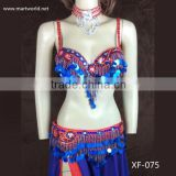 New design blue belly dance sexy egypt costume (XF-075 blue)