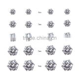 Fantasy Clear Color Cubic Zirconia 316L Hypoallergenic Stainless Steel Stud Earring Jewelry Earrings Set 10Pairs/Bag