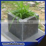 Street decoration square black slate stone flower pots suppliers