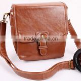 Factory price brown leather Camera Bag with strap in Dongguan