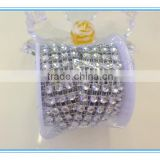 Silver 4 Row 2yards Acrylic Rhinestone Diamond Cake Ribbon Banding