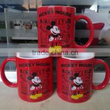 11oz Two Tone Color Ceramic Mug with Mickey Mouse Decal