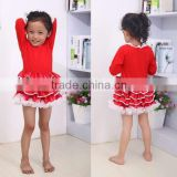 online wholesale Christmas new fashion design clothes one pieces baby girls red long sleeve tutu dress for Christmas