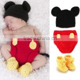 Winter Warm Cheap Newborn Baby Crochet Cute Animal Mickey Hat /Hand Knitted Shorts/Shoes Clothing Sets