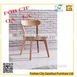 Modern neat ash solid wood dinning chair with wooden seat
