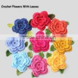2016 custom nice handmade crochet cotton flower applique with leaves for decoration