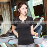 Latest Designs Short Sleeve Mesh Insert Sexy Gym Shirt Yoga Top For Women