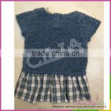 China supplier hot sale 100% cotton baby sweater dresses with woven checked fabric