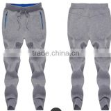 Custom cotton men's fashionable jogger pants with zipper and logo printed sport wear