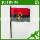 JOHNIN differnt sizes factory price plastic held polyester printed Angola election hand waving flag
