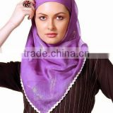 Beautiful Hijab Islamic Scarf Viscose Satin Square Scarves Woman Stylish Headcover Designs Scarves Women pom pom tassel hemline