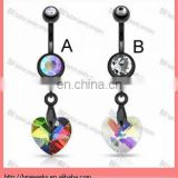 Black navel ring with dangling rainbow prism heart titanium plated belly body piercing jewelry rings
